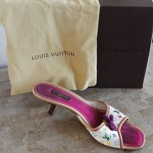 Authentic Louis Vuitton White Logo Heels